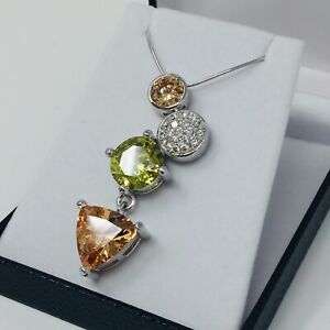 Topaz & Green/Crystal 925 Sterling Silver Rhodium Plated CZ Necklace Pendant Set
