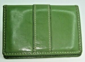 "COACH 3""X4-1/4"" Green Leather Bi-Fold Wallet  3 Card Slots & Two Plastic Windows"