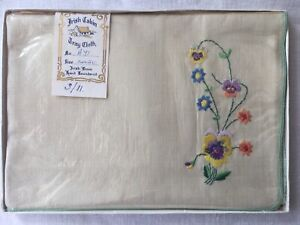 Vintage Irish Linen Embroidered Tray Cloth PANSIES Irish Cabin-1950s NEW Boxed