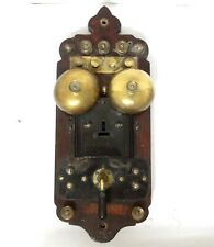 ANTIQUE 1900 ERICSSON RAILROAD 3 LINES WALL SWITCHBOARD TELEPHONE BELLS WOODEN