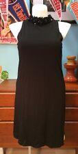 MAGGY LONDON Beaded Neck BLACK DRESS 14 Sleeveless