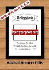 Personalised best Auntie photo print gift  birthday A4 present