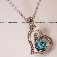 Heart Necklace Aquamarine Crystal Pendant Silver Birthday Gifts for Her Women B2