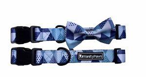 dog collar bow wedding plastic buckle blue grey geometric bright