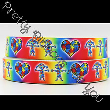 """Autism Awareness 7/8"""" wide grosgrain ribbon the listing is for 5 yards"""