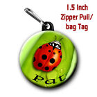 Lady Bug Zipper Pull/Bag Tags Two 1.5 inch Charms with Name of choice