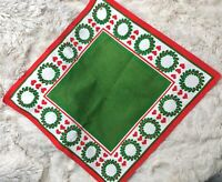 "Christmas Linen Doily - Hearts & Pines Design HILL Sweden Swedish 18"" Square"