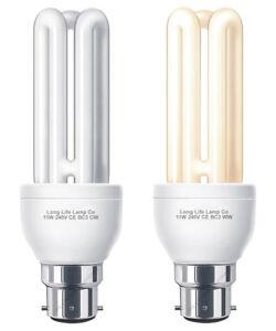 11W 3U CFL Light Bulb 3 PIN Bayonet BC3 11W = 55W Warm or Cool White Us Bulb