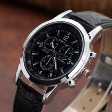 Mens Boy Leather Belt Dial Analog Quartz Wrist Watches Buckle Business Watches