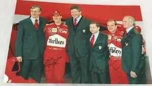 Michael Schumacher, Barrichello, Todt, Brawn Autographed F1 Ferrari Photo 20X30