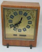 Vintage Jantar Russian Wood Mantel  Clock - Updated