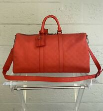 LOUIS VUITTON Rare Red Damier Infini Leather Keepall 45 Limited Ed.