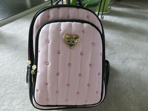 Luv Betsey By Betsey Johnson LBJAX Quilted Pink/Black Double Zipper Backpack NWT