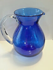 """New listing Seeded Bubble Glass Large Cobalt Blue 10"""" Water Pitcher"""