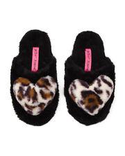 Betsey Johnson Cozy Heart Leopard Cheetah Plush Heart Black Slippers Small 5-6