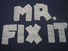 Mens XL T-Shirt Cotton Mr Fix It Navy Blue Gray Print Letters