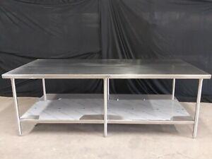 Island Work Table With Under Shelf 96'' X 48'' X 34'' Tall