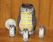 Russian Matryoshka Mate Pintado A Mano Anidamiento Muñeca 4 rusas Grey Owl Nikitina
