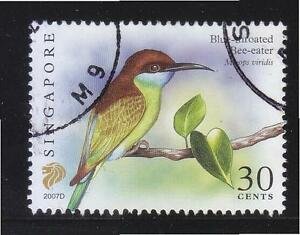 SINGAPORE 2007 BLUE-THROATED BEE-EATER $0.30 3RD RE-PRINT (2007D) 1 STAMP USED