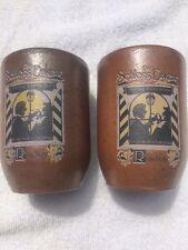 German Terra Cotta Pottery Cups Mugs Glass Set of 2 Scholss Einkehr 12 oz Brown
