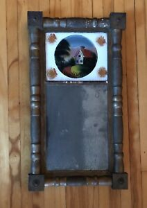 Early 19th Century Eglomise Reverse Painted American Mirror Original Glass 1820
