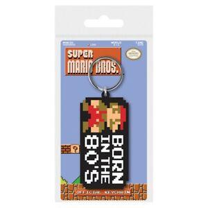 Super Mario Bros Born In The 80s Rubber Keychain Black