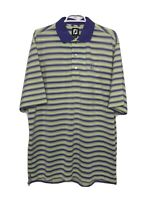 Footjoy FJ Mens Large Golf Polo Shirt Yellow Purple Striped TPC Tampa Bay