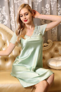 Pure 19MM Silk Womens Lace V Neck Cap Sleeve Short SlipsUS 2 6 10 XIM7029