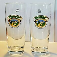 """Lot of 2 Ayinger Finest Bavarian Willy Becher Beer Glasses .5 L  7 1/4"""" Tall NOS"""