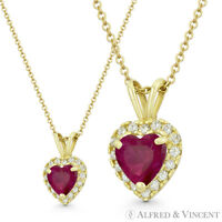Heart Love Charm Faux Ruby Red CZ Crystal Pave 12x8mm Pendant in 14k Yellow Gold