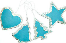DAZZLING TEAL HANGING CHRISTMAS DECORATIONS X2 CHOOSE DES- TREE/BELL/HEART/STAR