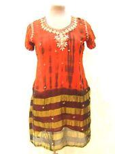 Red Orange Tie Dye Gold beaded Sequin Hippy boho Kaftan Tunic Dress Long Top