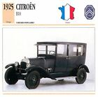 Citroën B10 4 Cyl. 1925 France CAR VOITURE CARTE CARD FICHE