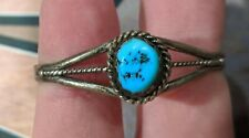 Indian Jewelry Bracelet Turquoise Sterling Silver Small Signed D CHKK Old Pawn