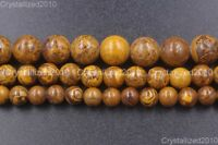 Natural Brown Black Elephant Skin Jasper Gemstone Round Beads 6mm 8mm 10mm 16''