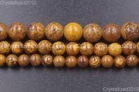 Natural Brown Black Elephant Skin Jasper Gemstone Round Beads 6mm 8mm 10mm 16''