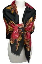 prachtvolles Damen Tuch mit Rosen Blumen Fransen rot schwarz braun Schal 903