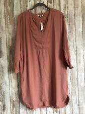$118 Madewell du jour Tunic Shirt Dress Knee Length Pink XS RARE