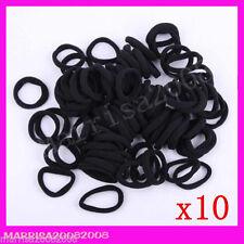 10 x Thick Stretch Hair Ties Elastic Ponytail Hair Bands Headbands Black