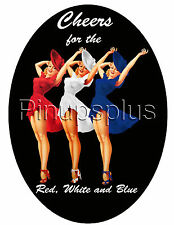 Red White and Blue Patriotic Pinup Girl Bomber Nose Art Waterslide Decals S978