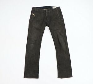 Diesel Industry Mens 31x32 Revick Stretch Slim Fit Button Fly Moto Jeans Black