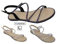 Strappy Flat Sandals Open Toe Diamante Edge Summer Holiday Shoes Womens Ladies