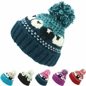 Wool Beanie Hat Bobble Knit Knitted SHEEP Lined Men Ladies Warm Winter