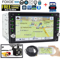 GPS Double 2 Din Car Stereo Radio DVD CD Mp3 Player SWC TV Bluetooth +Map & CCD