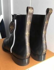 Louis Vuitton Black Leather, MONOGRAM ACCENTED Flat Ankle Boot Shoes 40, US  9.5 d997bb67baa
