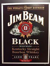 Jim Beam Black Whiskey TIN SIGN Vtg LabeL Logo Home Bar Wall Decor Pub 30x40 Cm