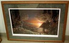 Terry Redlin Sunset Retreat 1783 of 9600 43 x 30 Cabin Sunset Outdoors wildlife