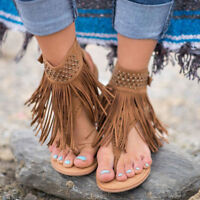 Womens Ladies Tassels Flat Gladiator Boho Sandals Shoes Thong T Strap Flip Flops