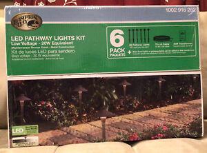 NEW 6PK 1.8W Mediterranean Bronze-Metal Outdoor LED Landscape Path Light Kit