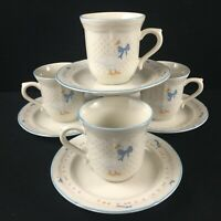 Set of 4 VTG Cups and Saucers by Brick Oven Stoneware Aunt Rhody Goose Bow